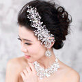 Elegant Wedding Pearl Crystal Beads Flower Rhinestone Bridal Headband Hair Comb Accessories