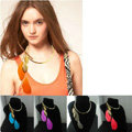 Europe Fashion Retro Women Gold-plated Blue Feather Tassel Metal Texture Punk Collar Necklace