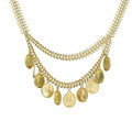 Europe Fashion Retro Women Two-layer Gold-plated Metal Fishbone Chain Tassel Coin Punk Bib Necklace