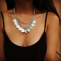Europe Fashion Retro Women Two-layer Silver Gold-plated Metal Fishbone Chain Tassel Coin Punk Bib Necklace