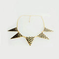 Europe Fashion Women Black Gold-plated Punk Big Triangle Metal Bib Necklace Clavicle Chain