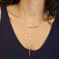 European Fashion Women Multi layers Triangle Bar Crystal Bead Gold-plated Necklace Clavicle Chain