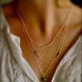 European Fashion Women Three layer Hands of Fatima Blue Eye Beads Gold-plated Necklace Clavicle Chain