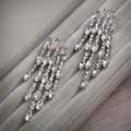 Fashion Banquet Wedding Jewelry Eardrop Rhinestone Crystal Bridal Tassel Earrings Silver Plated