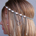 Fashion Personality Woman Bohemia Silver Alloy Pearl Tassel Chain Headband Hair Accessories