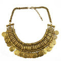 Fashion Retro Short Women Bronze Gold-plated Carved Metal Coins Tassel Bib Necklace Clavicle Chain
