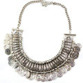 Fashion Retro Short Women Silver Gold-plated Carved Metal Coins Tassel Bib Necklace Clavicle Chain