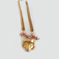 Fashion Retro Women Gold-plated Pink Diamond Metal Texture Fox head Short Necklace Clavicle Chain