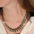 Fashion Simple Personality Women Gold-plated Texture Metal Sequins Short Necklace Clavicle Chain