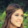 Fashion Simple Woman Gold Plated Alloy Bling Sequins Chain Headband Hair bands Accessories