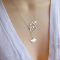 Fashion Simple Women Gold-plated Silver Metal Hollow Leaves Bird Necklace Clavicle Chain