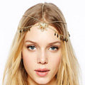Fashion Woman Gems Crystal Hollow Flower Tassel Alloy Arrow Chain Gold Plated Headband Hair Accessories