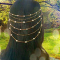 Fashion Woman Golden Alloy Pearl Copper Beads Multilayer Tassel Chain Headband Hair Comb Accessories