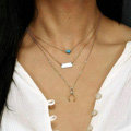 Fashion Women Gold-plated Multi layer Turquoise Wish bone Metal Sequins Necklace Clavicle Chain