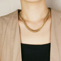 Fashionable Retro Women Golden Gold-plated Metal Whole Fishbone Chain Punk Short Necklace Clavicle