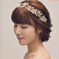 Fashionable Wedding Headdress By hand Pearl Crystal Beads Flower Bridal Headband Hair Accessories