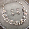 High-end Wedding Jewellery Flower Crystal Bead Rhinestone Freshwater Pearl Bridal Necklace Earrings Sets
