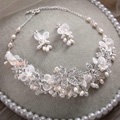 High-end Wedding Lace Flower Crystal Bead Rhinestone Freshwater Pearl Bridal Necklace Earrings Sets