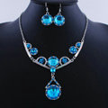 High quality Retro Wedding Bridal Alloy Circular Blue Rhinestone Pendant Necklace Earrings Set Bridesmaid