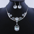 High quality Retro Wedding Bridal Alloy Circular Clear Rhinestone Pendant Necklace Earrings Set Bridesmaid