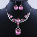 High quality Retro Wedding Bridal Alloy Circular Pink Rhinestone Pendant Necklace Earrings Set Bridesmaid