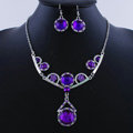 High quality Retro Wedding Bridal Alloy Circular Purple Rhinestone Pendant Necklace Earrings Set Bridesmaid