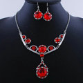 High quality Retro Wedding Bridal Alloy Circular Red Rhinestone Pendant Necklace Earrings Set Bridesmaid