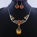 High quality Retro Wedding Bridal Alloy Circular Yellow Rhinestone Pendant Necklace Earrings Set Bridesmaid