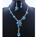 High quality Wedding Bridal Jewelry Alloy Water drops Flower Blue Rhinestone Necklace Earrings Set