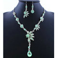 High quality Wedding Bridal Jewelry Alloy Water drops Flower Green Rhinestone Necklace Earrings Set