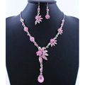 High quality Wedding Bridal Jewelry Alloy Water drops Flower Pink Rhinestone Necklace Earrings Set