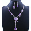 High quality Wedding Bridal Jewelry Alloy Water drops Flower Purple Rhinestone Necklace Earrings Set