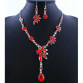 High quality Wedding Bridal Jewelry Alloy Water drops Flower Red Rhinestone Necklace Earrings Set