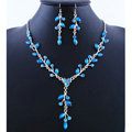 High quality Wedding Bridal Jewelry Long Alloy Leaves Blue Rhinestone Pendant Necklace Earrings Set