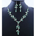 High quality Wedding Bridal Jewelry Long Alloy Leaves Green Rhinestone Pendant Necklace Earrings Set