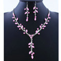 High quality Wedding Bridal Jewelry Long Alloy Leaves Pink Rhinestone Pendant Necklace Earrings Set