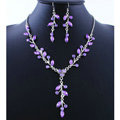 High quality Wedding Bridal Jewelry Long Alloy Leaves Purple Rhinestone Pendant Necklace Earrings Set
