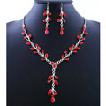 High quality Wedding Bridal Jewelry Long Alloy Leaves Red Rhinestone Pendant Necklace Earrings Set