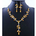 High quality Wedding Bridal Jewelry Long Alloy Leaves Yellow Rhinestone Pendant Necklace Earrings Set