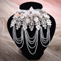 Hot Sell Shining Rhinestones Lace Flower Tassel Shoulder Deco Necklace Wedding Bridal Jewelry