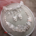 Luxury Bridal Wedding Lace Flower Crystal Bead Rhinestone Freshwater Pearl Tiaras Necklace Earrings Sets