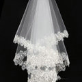 Luxury Cathedral Short Handmade Lace Flower Sequins Bridal Wedding Veil Bride Deco