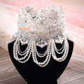 Luxury Pearl Rhinestones Crystal Lace Flower Tassel Shoulder Deco Necklace Wedding Bridal Jewelry