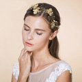 Luxury Retro Bridal Wedding Rhinestone Alloy Maple leaves Crystal Bride Headband Gold Plated