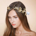 Luxury Retro Bridal Wedding Rhinestone Alloy Pearl Olive leaf Crystal Bride Headband Gold Plated