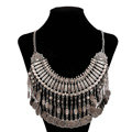 Luxury Retro Exaggeration Women Silver Plated Carved Metal Multi layer Tassel Coin Necklace Clavicle Chain