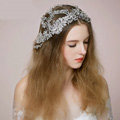 Luxury Vintage Bridal Wedding Queen Rhinestone Crystal Bead Flower Bride Headband Hair Accessories