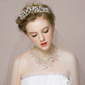 Luxury Vintage Wedding Bridal Jewelry Pearl Rhinestone Crystal Bead Tiaras Necklace Earrings Set