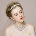 Luxury Vintage Wedding Bridal Jewelry Rhinestone Crystal Bead Flower Tiaras Necklace Earrings Set