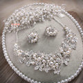 Luxury Wedding Jewellery Pearl Crystal Beads Flower Rhinestone Bridal Headband Earrings Necklace Sets